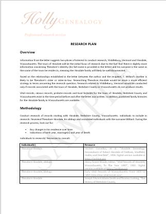 Genealogy Research Plan