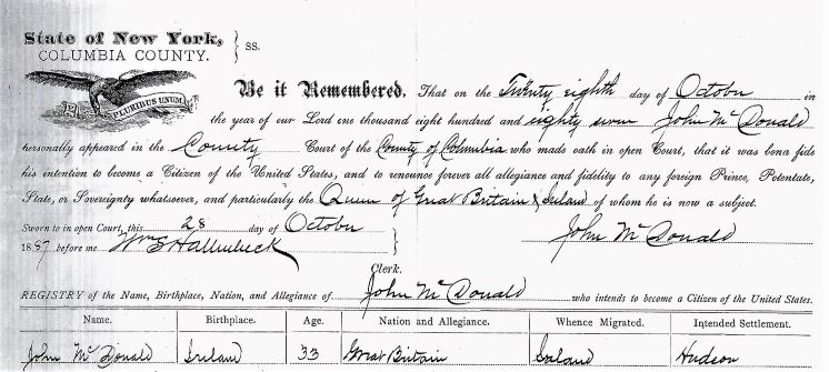Columbia County Naturalization Record