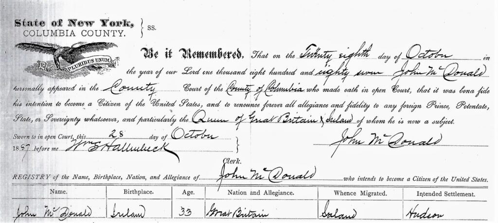 John McDonald naturalization record
