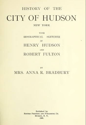 History of the City of Hudson New York
