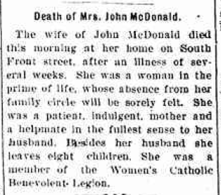 Julia McDonald - Death Notice