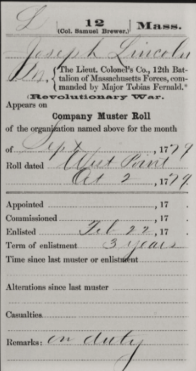 Revolutionary War Service Record
