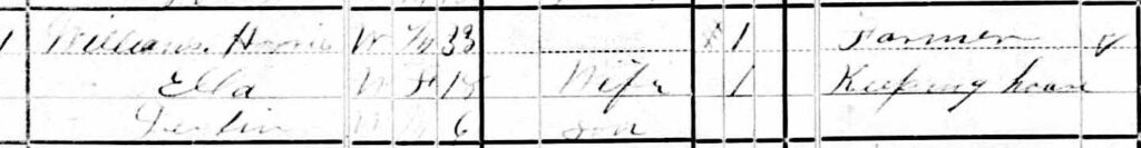 Harris Williams' Minnesota census record