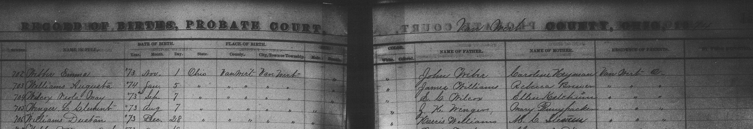 Dustan Williams' Ohio birth record