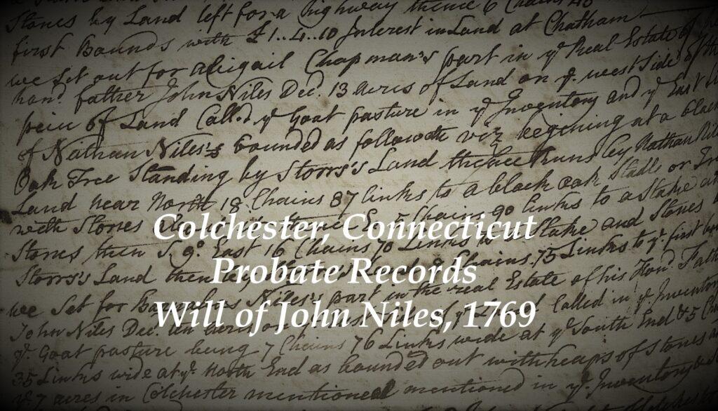 Colchester Connecticut Probate Records